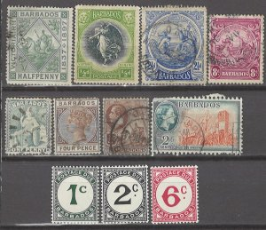 COLLECTION LOT # 3072 BARBADOS 11 STAMPS 1875+ CV+$17