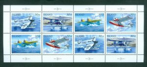Iceland. 1992 Booklet Panel. Mnh. 8 x 30 Kr Mail Airplanes Transport. Sc#773-776