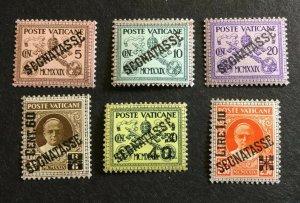 Vatican City Sc# J1-J6 Complete Set MH Mint Hinged CV $55.85