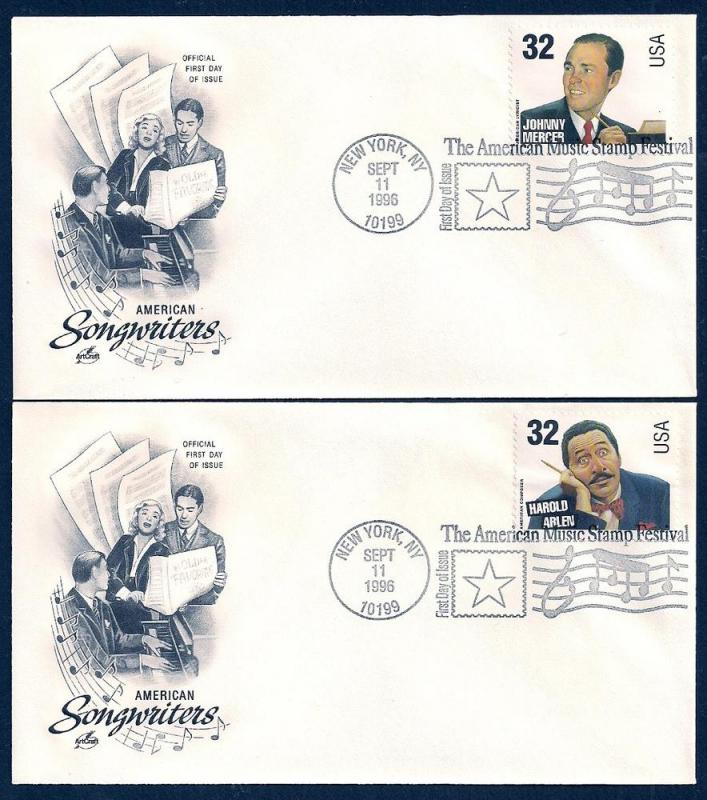 UNITED STATES FDCs (4) 32¢ Songwriters 1996 ArtCraft