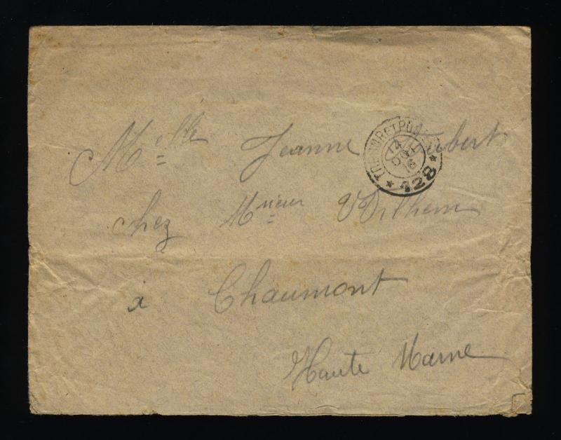 FRANCE - 1916 - S.P. 128 CàD double cercle TRESOR ET POSTES sur LSC FM