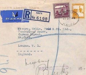 AL85 PALESTINE Cover 1945 *Haifa* GB Air Mail Mayfair London {samwells-covers}