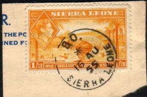 SIERRA LEONE 1955 GVI 1/3d on piece BO cds.................................46532