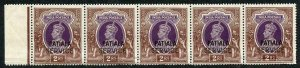 Patiala SGO67 KGVI 2r Purple and Brown Heavy horizontal Crease U/M Cat 45 pounds