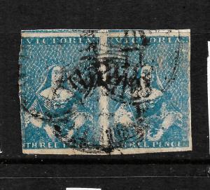 VICTORIA  1850-53  3d   BLUE QV IMPERF PAIR  FU SG 4a