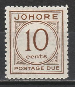 JOHORE 1938 POSTAGE DUE 10C