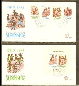 1993 - Rep. Surinam FDC E170+A - Childhood - Games -  Old children's games [L...