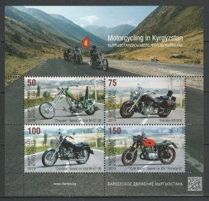 Kyrgyzstan 2019 Motorcycles MNH sheet