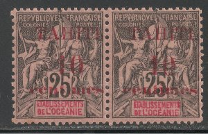 Tahiti #30 VF MNH PAIR - 1903 10c on 25c Peace and Commerce