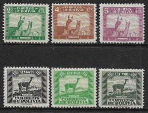 BOLIVIA  251-256   MNH ANIMAL ISSUE OF 1939