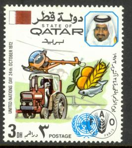 QATAR 1972 3d UN DAY FAO Issue Sc 325 MNH
