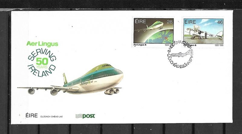 Ireland FDC Air Lingus Airplanes 1986 2 Stamps