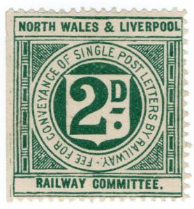 (I.B) North Wales & Liverpool Railway Committee : Letter Stamp 2d