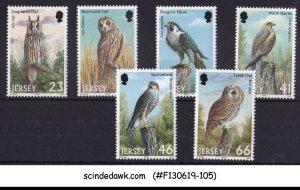 JERSEY - 2001 BIRDS OF PREY - OWL FALCOM HAWK 6V MNH