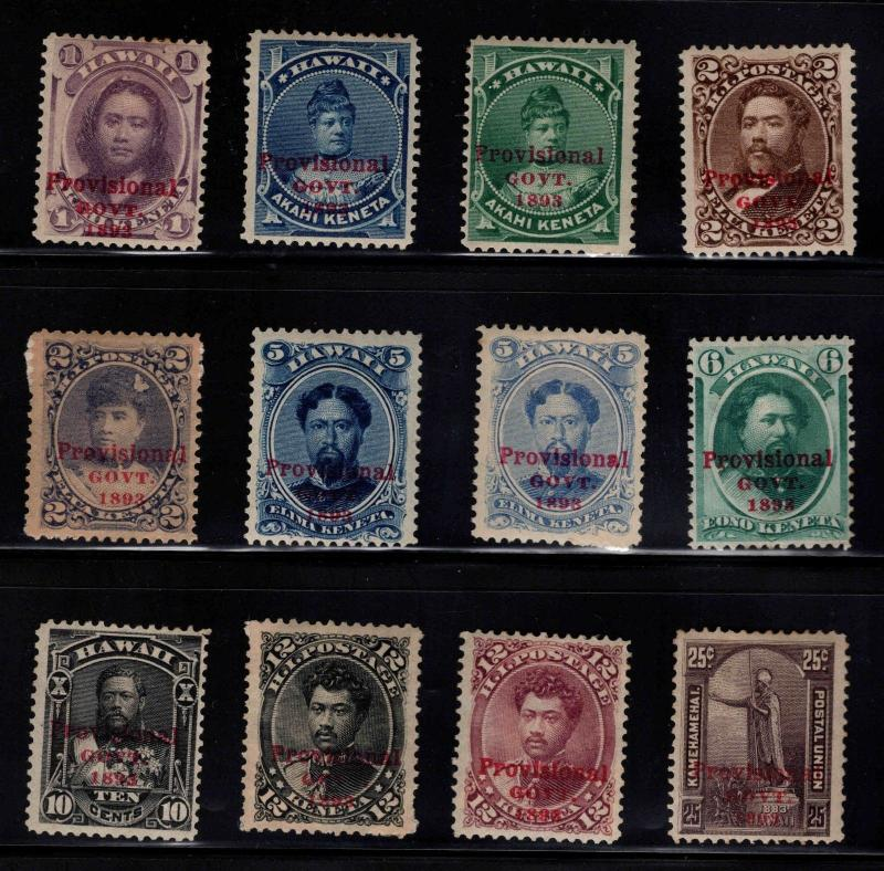 Hawaii Scott 53-64 Mint 1893 Red Provisional Government overprint set