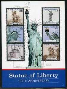 ST. VINCENT GREN 2016 130th ANNIVERSARY OF THE STATUE OF LIBERTY SHT II  MINT NH
