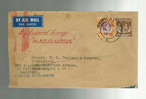 1938 Singapore First Flight Cover FFC to England via Imperial Airways
