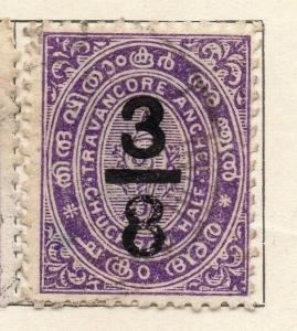 Travancore 1906 Early Issue Fine Used 3/8ch. Surcharged 191268