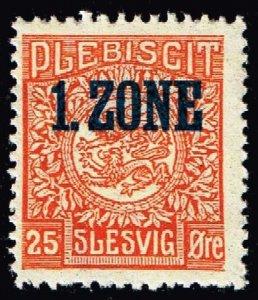 GERMANY STAMP PLEBISCIT 1.ZONE OVERPRINT SLESVIG  25øre MH/OG TYPE 7 I $135