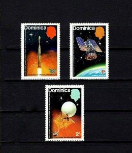 DOMINICA - 1975 - SPACE - SATELLITE - METEOROLOGICAL - TIROS ++ 3 X MNH SINGLES!