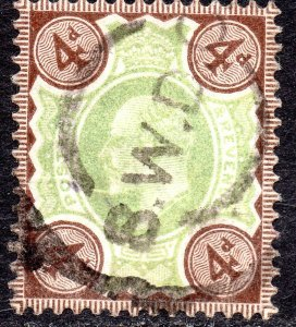 1902 Sg 235 4d Green & Chocolate Brown with SWDC Parcels Cancellation