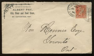 Canada 3 Cent Small Queen on cacheted 1896 St Catharines ON cover to Toronto