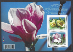 Canada #2621 MNH ss, Flowers, magnolias, issued 2013