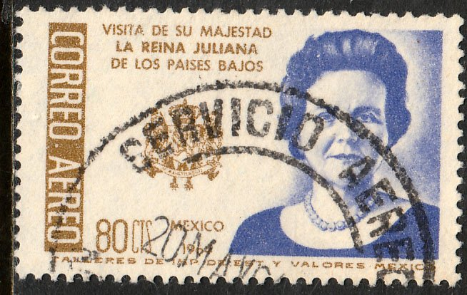 MEXICO C283, Visit of Queen Juliana of the Netherlands. Used. VF. (1162)