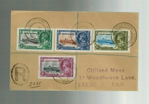 1936 Cayman Islands Registered Airmail COver to England Jubilee Set # 81-84