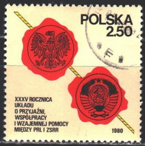 Poland. 1980. 2681. Friendship of the USSR and Poland. USED.