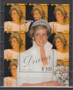 Liberia, 1998 issue. Lady Diana s/sheet.