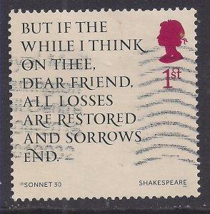 GB 2016 QE2 1st 400th Anniv. William Shakespeare Used SG 3821  ( J1432 )