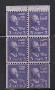 US 1938 - 54 Thomas Jefferson Booklet Pane of 6 Stamps 3c Stamp Scott 807a MNH