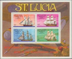 1976 St. Lucia #386a, Complete Set, Souvenir Sheet, Never Hinged