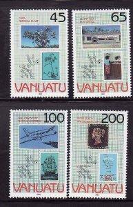 Vanuatu-Sc#519-22- id7-unused NH set-Planes-Stamp exhibition-1990-