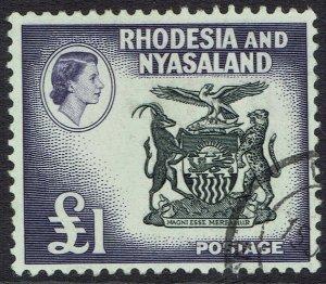 RHODESIA & NYASALAND 1959 QEII ARMS 1 POUND USED