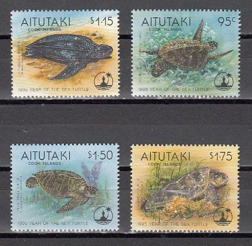 Aitutaki, Scott cat. 513-516. Year of the Turtle issue.