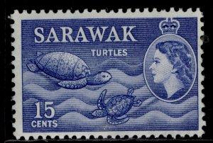 SARAWAK QEII SG195, 15c ultramarine, M MINT.