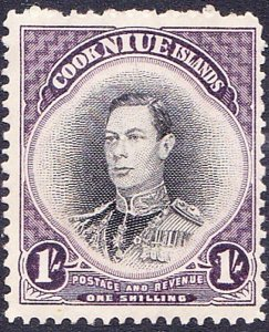 NIUE 1938 1/- Black & Purple SG75 MH