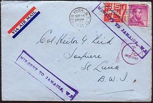 MISSENT TO JAMAICA 1961 taxed cover New York to St Lucia...................31727
