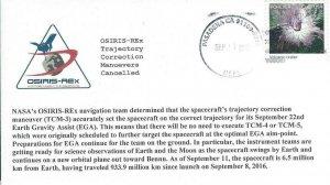 2017 OSIRIS-Rex Trajectory Correction Maneuvers Cancelled Pasadena 11 September