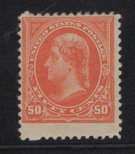MINT US Stamp Scott #260 50c Orange Jefferson Mint Previously Hinged SCV $475