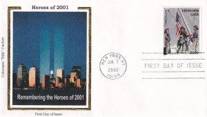 2002, Heroes of 2001, Colorano Silk, FDC (E11861)