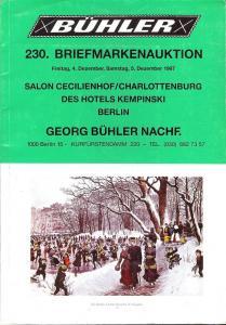 Buhler: Sale # 230  -  230. Briefmarkenauktion, Georg Buh...
