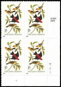 PCBstamps   US #3650 PB $1.48(4x37c)Scarlet & Louisiana Tanagers, MNH, (PB-4)
