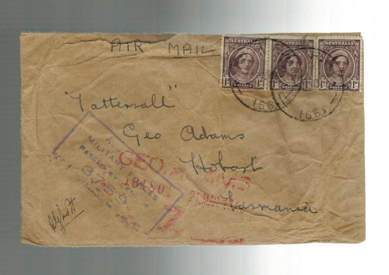 1945 Australia FPO censored Cover to Tasmania 5th Division in PApua