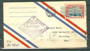 US 1928 1st AIRMAL FLIGHT..CAM 16...AUG. 1 CLEVELAND-DAYTON-WINNIPEG
