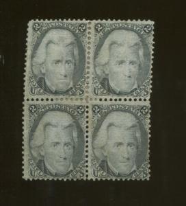 1868 United States Postage Stamp #93 Mint No Gum Block of 4