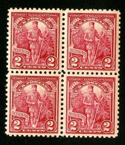 US Stamps # 643 Superb Choice block 4 OG NH