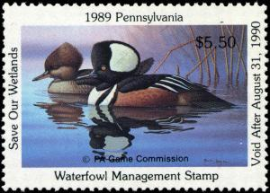 PENNSYLVANIA #7 1989 HOODED MERGANSER  STATE DUCK STAMP by Ronald Louque